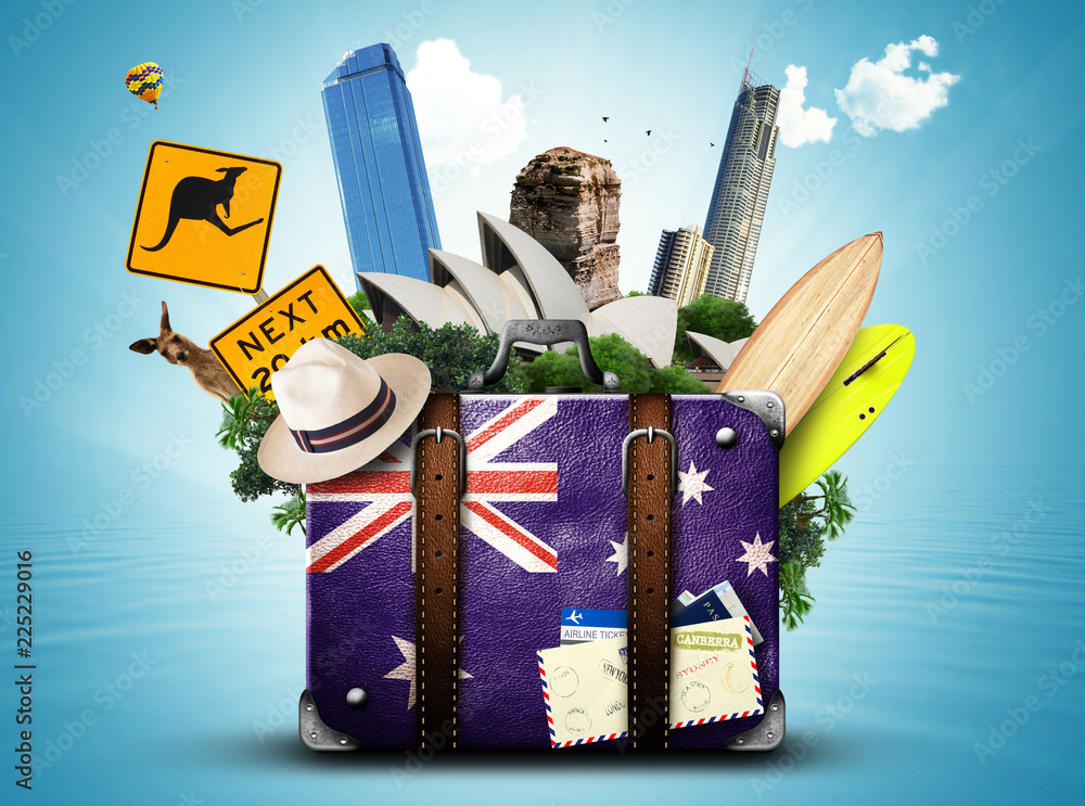 Fototapeta Australia, retro suitcase with hat and attractions Australia
