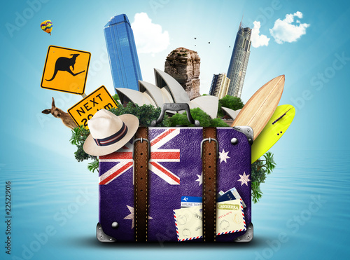 Australia, retro suitcase with hat and attractions Australia