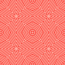 Red Vector Seamless Pattern With Stripes, Diagonal Lines, Geometric Shapes