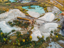 Quarry For Extraction And Production Chalk, Minerals And Limestone With Special Heavy Machinery Equipment, Aerial View