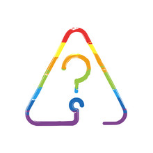 Question Mark In Warning Triangle. Linear Icon With Thin Outline. One Line Style. Drawing Sign With LGBT Style, Seven Colors Of Rainbow (red, Orange, Yellow, Green, Blue, Indigo, Violet