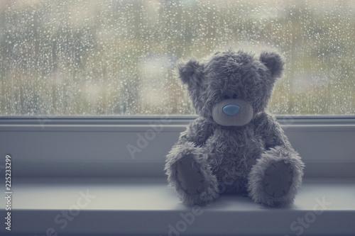 Fényképezés  Gray teddy bear on a window sill in rainy weather