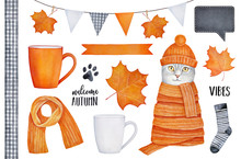 Orange Color Collection Of Various Autumn Seasonal Elements: Cosy Coffee Mugs, Party Garland, Beautiful Maple Leaves, Text Lettering, Pet Character, Soft Wool Knitted Clothes. Watercolour Drawing.