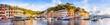 Leinwandbild Motiv Portofino Hafen Panorama, Ligurien, Italien