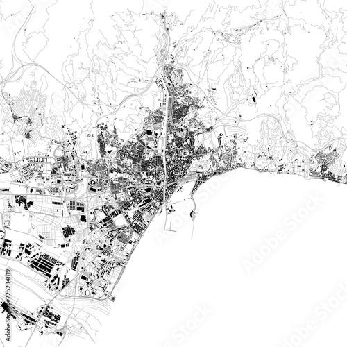 Malaga Spagna Cartina.Cartina Di Malaga Vista Satellitare Mappa In Bianco E Nero Stradario E Mappa Della Citta Spagna Stock Vector Adobe Stock