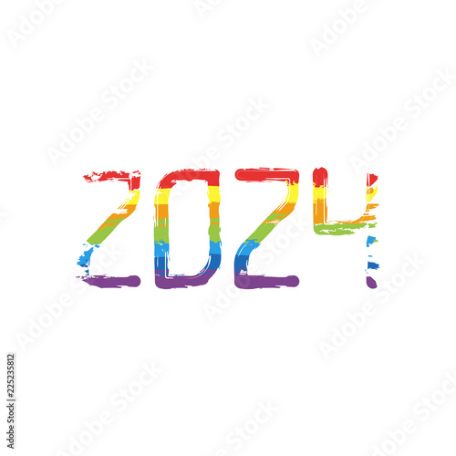b4b16affd14 2024 number icon. Happy New Year. Drawing sign with LGBT style, seven colors
