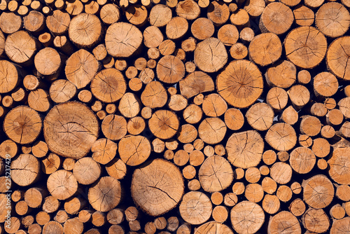 Photo sur Aluminium Texture de bois de chauffage Background of sawn logs of different diameter folded wall