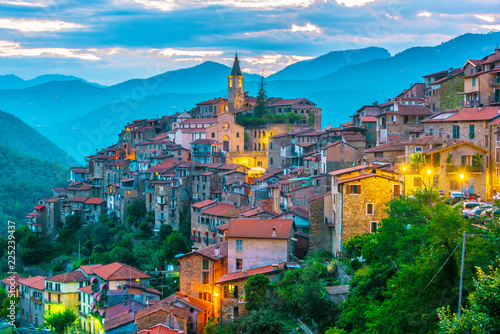 Fotografering  View of Apricale in the Province of Imperia, Liguria, Italy