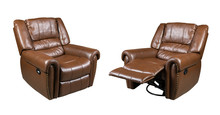 Brown Leather Recliner Chair Isolated On White Background
