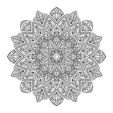 Black Indian Mandala On White Background. Decorative Flower Drawing For Meditation Coloring Book. Ethnic Floral Design Element, Round Hand Drawn Illustration, Line Art.