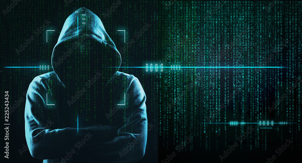 Fototapeta Dark Web Hooded Hacker