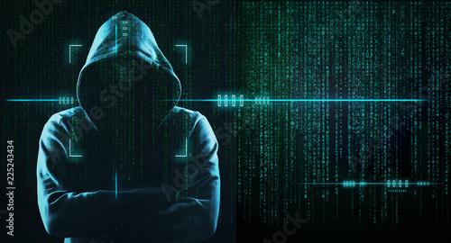 Dark Web Hooded Hacker Wallpaper Mural
