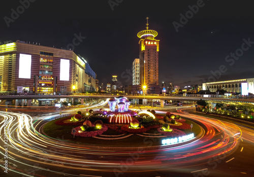 Spoed Foto op Canvas Stad gebouw Night panorama of beautiful Shanghai city with bright lights, China