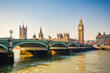canvas print picture - Big Ben and westminster bridge in London at autumn