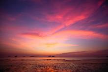 Twilight Sky Over The Sea Coast.