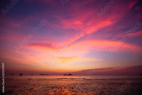 Poster Crimson Twilight sky over the Sea coast.