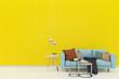 pastel wall wood floor chair sofa lamp 3d render