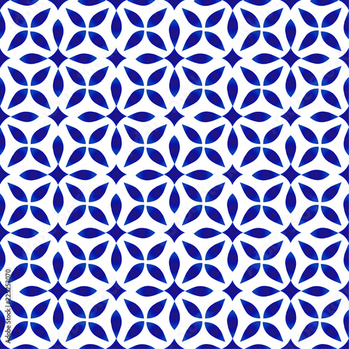 blue and white pattern seamless Fototapeta