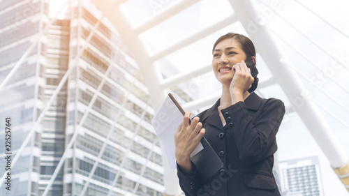 lifestyle business people feel happy using smartphone , business concept