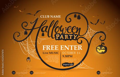 Fotografía  Happy Halloween banners party invitation.Vector illustration .