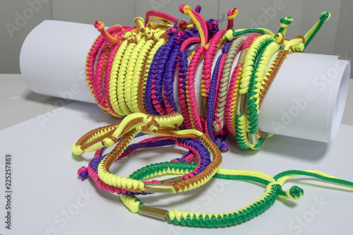 Photographie  Thai colorful hand holy thread for keep safety, Lucky and good in everything