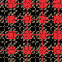 Scottish Tartan Grunge Seamless Pattern With Leopard Spots Eps10