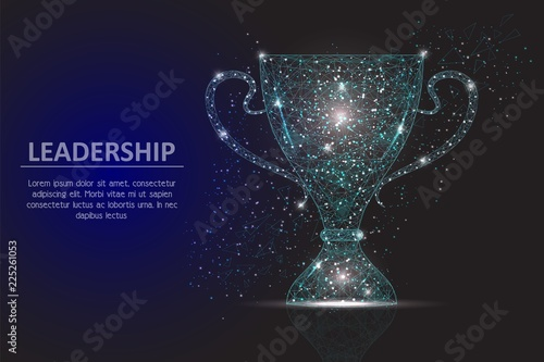 Photo  Leadership winner cup vector geometric polygonal background