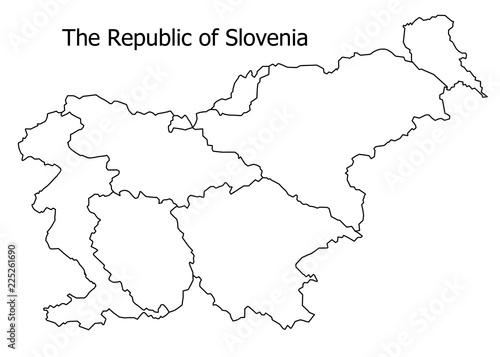 Fotografia, Obraz  The Republic of Slovenia border on a white background circuit
