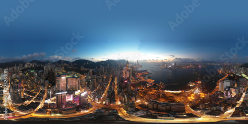 fototapeta na ścianę 360 Aerial view panorama cityscape of Hong Kong, China