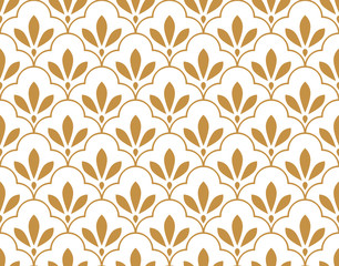 Fototapeta Do sypialni Flower geometric pattern. Seamless vector background. White and gold ornament. Ornament for fabric, wallpaper, packaging, Decorative print