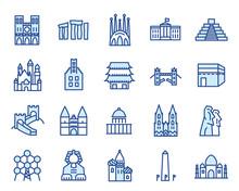 Wahrzeichen Und Denkmäler Vector Icon Illustration Set