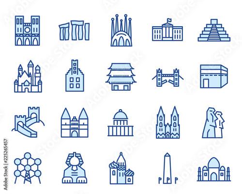 Photo Wahrzeichen und Denkmäler Vector Icon Illustration Set