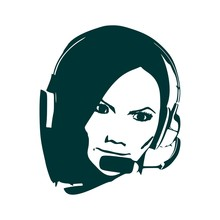 Chat Or Customer Service Operator. Beauty Woman Face Silhouette