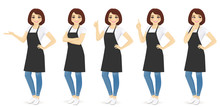 Smiling Woman In Apron Standing With Different Gestures Isolated