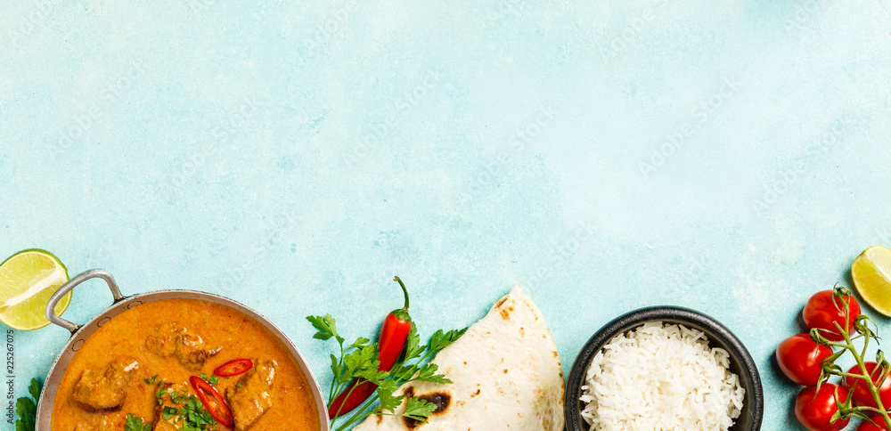 Fototapety, obrazy: Traditional curry on blue background