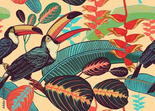 kwiatowy-wzor-z-ptakow-tukany-i-tropikalnych-lisci-i-kwiatow