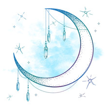 Blue Crescent Moon With Moonst...