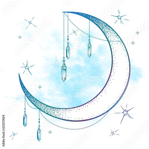 Foto Blue crescent moon with moonstone gem pendants and stars vector illustration