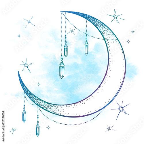 Błękitna półksiężyc księżyc z moonstone klejnotu wisiorkami i gwiazda wektoru ilustracją. Ręcznie rysowane w stylu boho druk artystyczny projekt plakatu, astrologia, alchemia, magiczny symbol na abstrakcyjnym tle akwarela.