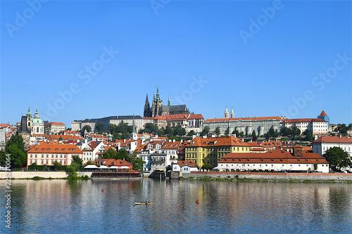 Staande foto Praag The old city of Prague and the Vltava river