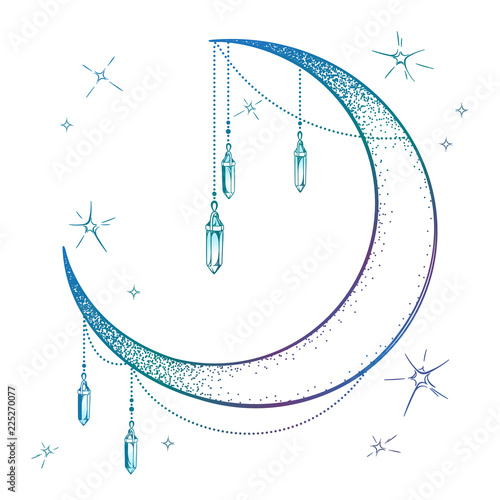 Blue crescent moon with moonstone gem pendants and stars vector illustration. Hand drawn boho style art print poster design, astrology, alchemy, magic symbol over white background.
