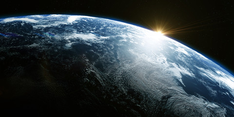 A view of the Earth from outer space/3D Rendering rotating planet Earth with a sun-baked side and a dark side with the lights of cities. Some elements of the image provided by NASA
