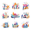 Sale and promotions in shop isolated set vector