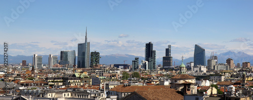 Milan city panoram viewed from the top of Milan Cathedral