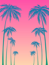 Blue Palm Trees Silhouette On A Pink Background. Vector Illustration, Design Element For Congratulation Cards, Print, Banners And Others