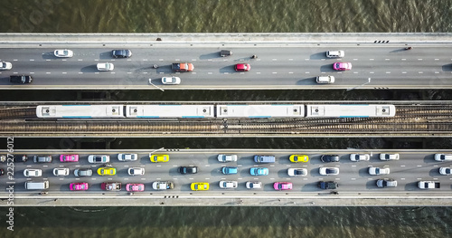 Stampa su Tela Aerial drone photograph of traffic in metropolis city.