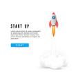 Start Up Concept Banner. Creative Business Idea Development. Launch Rocket. Vector illustration