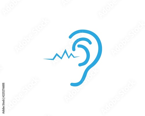 Fotografie, Tablou  Ear Hearing logo and vector icon