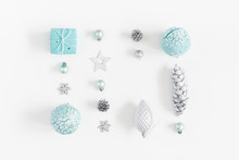 Christmas Composition. Christmas Gifts, Blue Decorations On White Background. Flat Lay, Top View, Copy Space