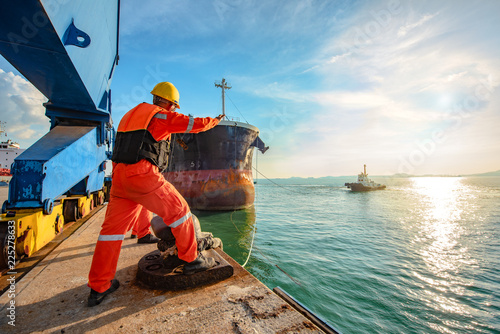ship vessel is on leaving departure from the port terminal after completion of l Tablou Canvas